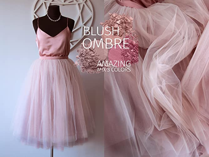 024207a87 Amazon.com: Blush Ombré Tulle Skirt 7 Layers Super Puff, 100% exclusive  handmade cut layers, Tulle Skirt Woman, Pink Light Blush Tulle Skirt  Bridal: ...