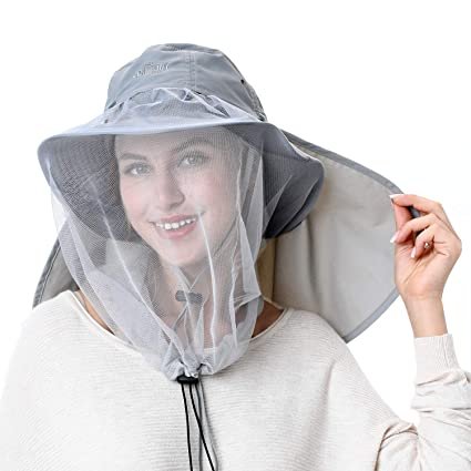 94f6ab906e024 Palmyth Mosquito Head Net Hat Safari Hiking Fishing Hats Sun Protection  Water Repellent Bucket Boonie Hats with Removable Neck Flap and Hidden Net  UV UPF ...