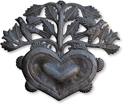 Heart, Floral Haitian Metal Heart with Flowers and Birds, Home Accent Decor, Love, Friendship, Unique, Handmade in Haiti, 12 in. x 10 in. Heart with Birds
