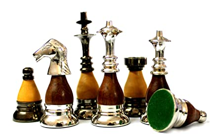 StonKraft 3.5 King Height - Collector Edition Brass Chess Pieces Wooden Chess Piece Chessman Chess Coins Pawns (Brown)