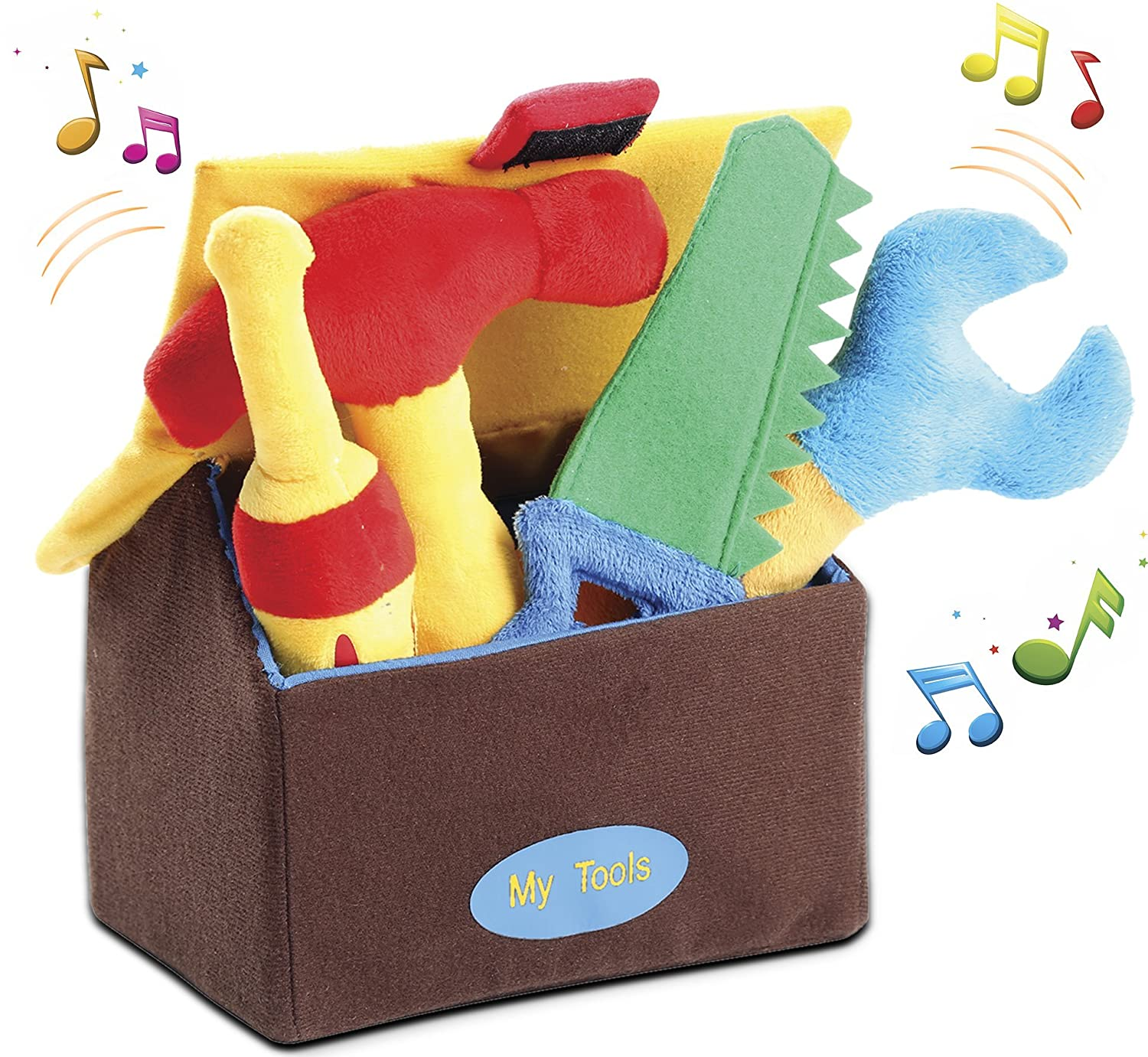Kleeger Plush Tool Play Set for Toddlers (5 Pcs - Play's Sounds) with Carrier Box   Extra Soft & Cute Toys for Baby Boys/Girls & Pre-School Children   Great Gift Idea