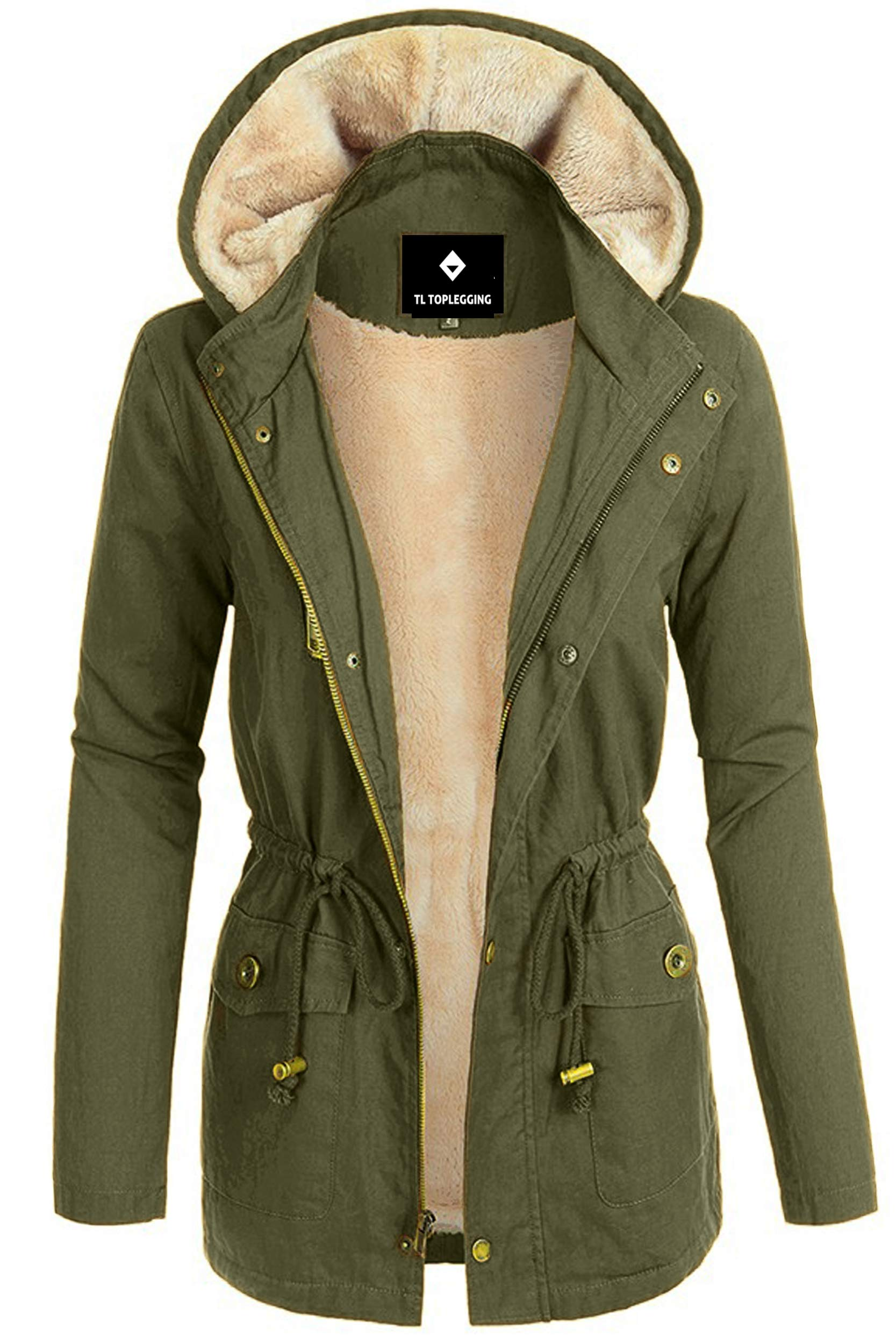 TOP LEGGING TL Women's Versatile Militray Anorak Parka Hoodie Jackets with Drawstring TGJ1085 Olive Large by TOP LEGGING