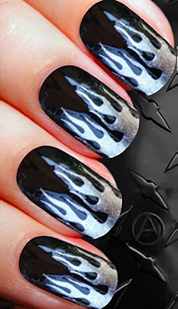 Amazon Biker Flames Metallic Silver Nail Decals Nail Art Water