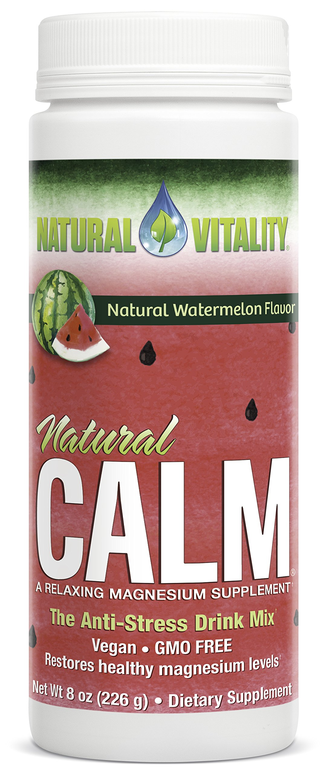 Natural Vitality Natural Calm Magnesium Anti Stress, Organic, Watermelon, 8 oz