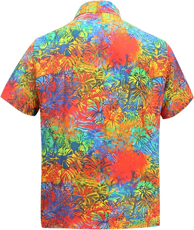 LA LEELA Casual Hawaiana Camisa para Hombre Señores Manga Corta Bolsillo Delantero Surf Palmeras Caballeros Playa Aloha 3XL-(in cms):152-162 Multicolor_W572: Amazon.es: Ropa y accesorios