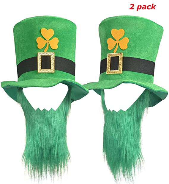 d230250b1 Amazon.com: 2 Pack St. Patricks Day Costume Leprechaun Green Top Hat ...