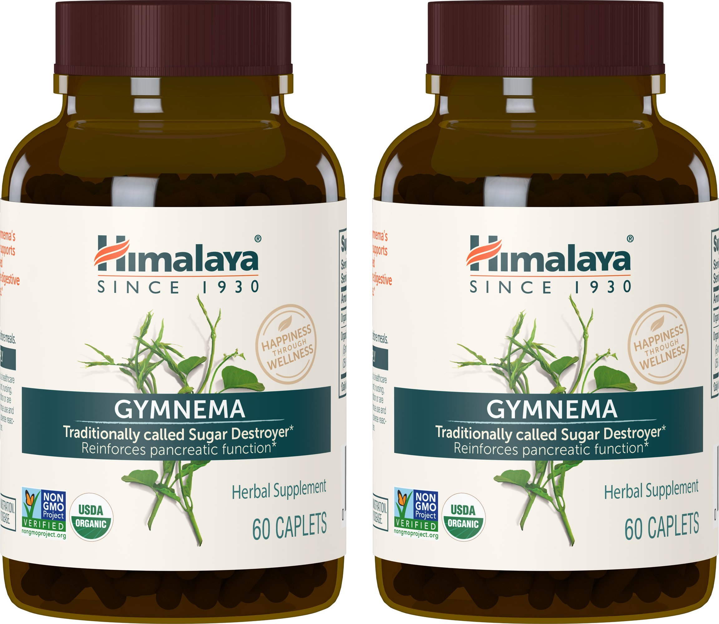 Himalaya Organic Gymnema Sylvestre, Equivalent to 8,254mg of Gymnema Sylvestre Powder, for Blood Sugar Support,  60 Caplets, 2 Month Supply (2 Pack)