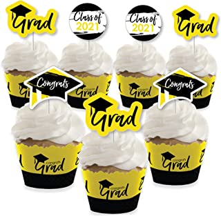 product image for Big Dot of Happiness Yellow Grad - Best is Yet to Come - Cupcake Decoration - 2021 Yellow Graduation Party Cupcake Wrappers and Treat Picks Kit - Set of 24
