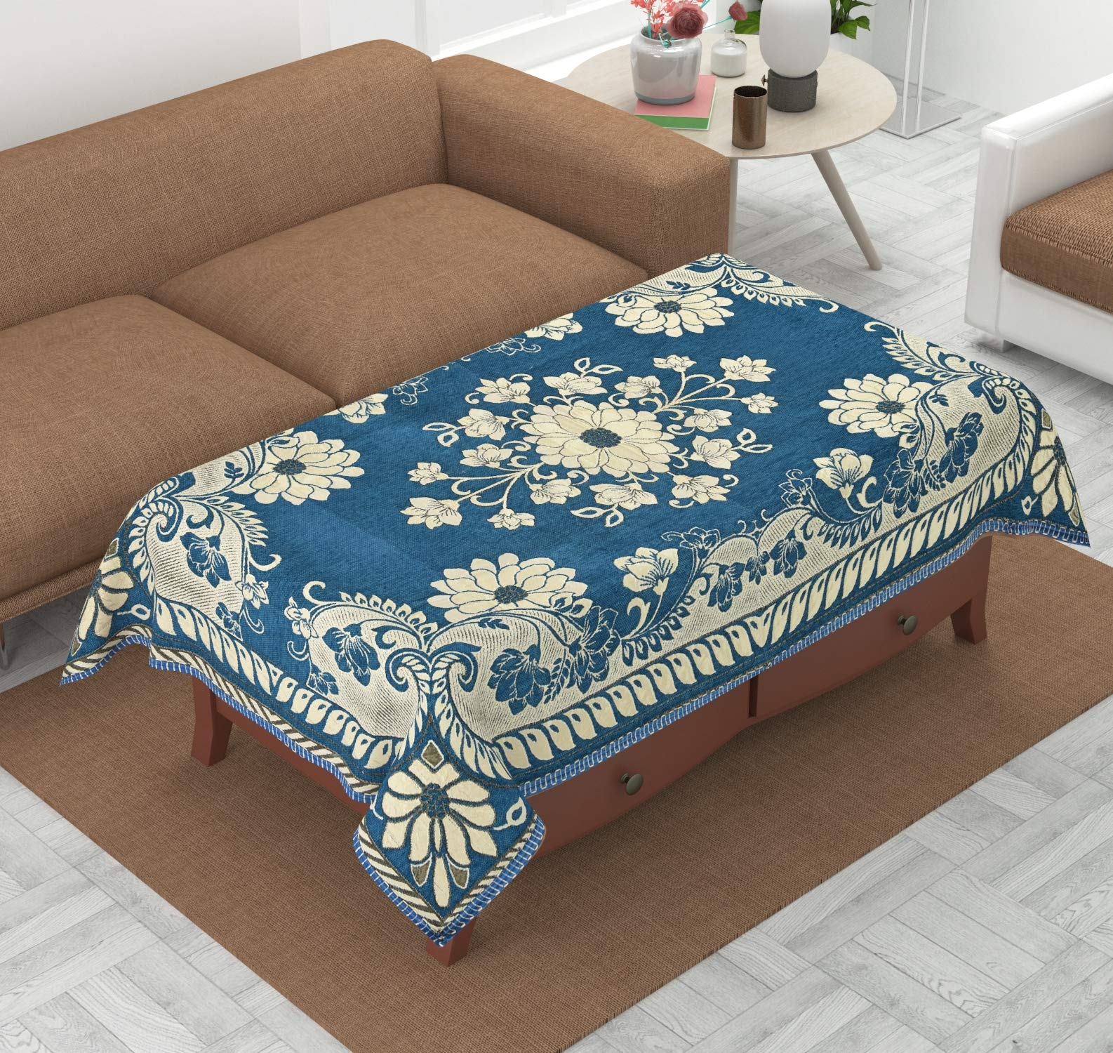Luxury CraftsTM Luxurious Attractive Design Chenille 4 Seater Centre Table Cover (Sky Blue) (B07WYP4M52) Amazon Price History, Amazon Price Tracker