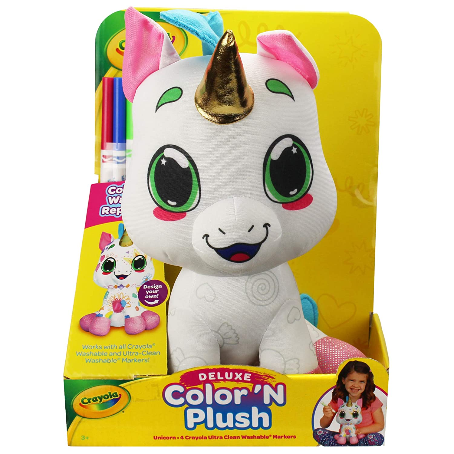 Crayola 12' Deluxe Color 'N Plush Unicorn - Draw, Wash Reuse