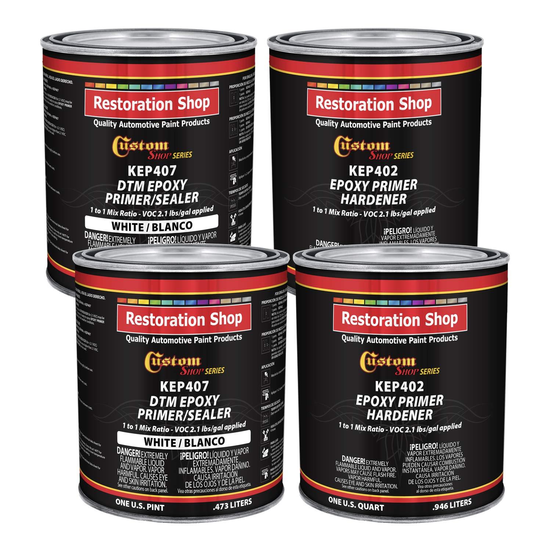 Custom Shop - White Epoxy Primer/Sealer 2.1 VOC (Gallon Kit) Anti-Corrosive DTM High-Performance Primer for Automotive and Industrial use Kit = 2 Qt. Epoxy Primer + 2 Qt. Epoxy Hardener (1-1 Mix)