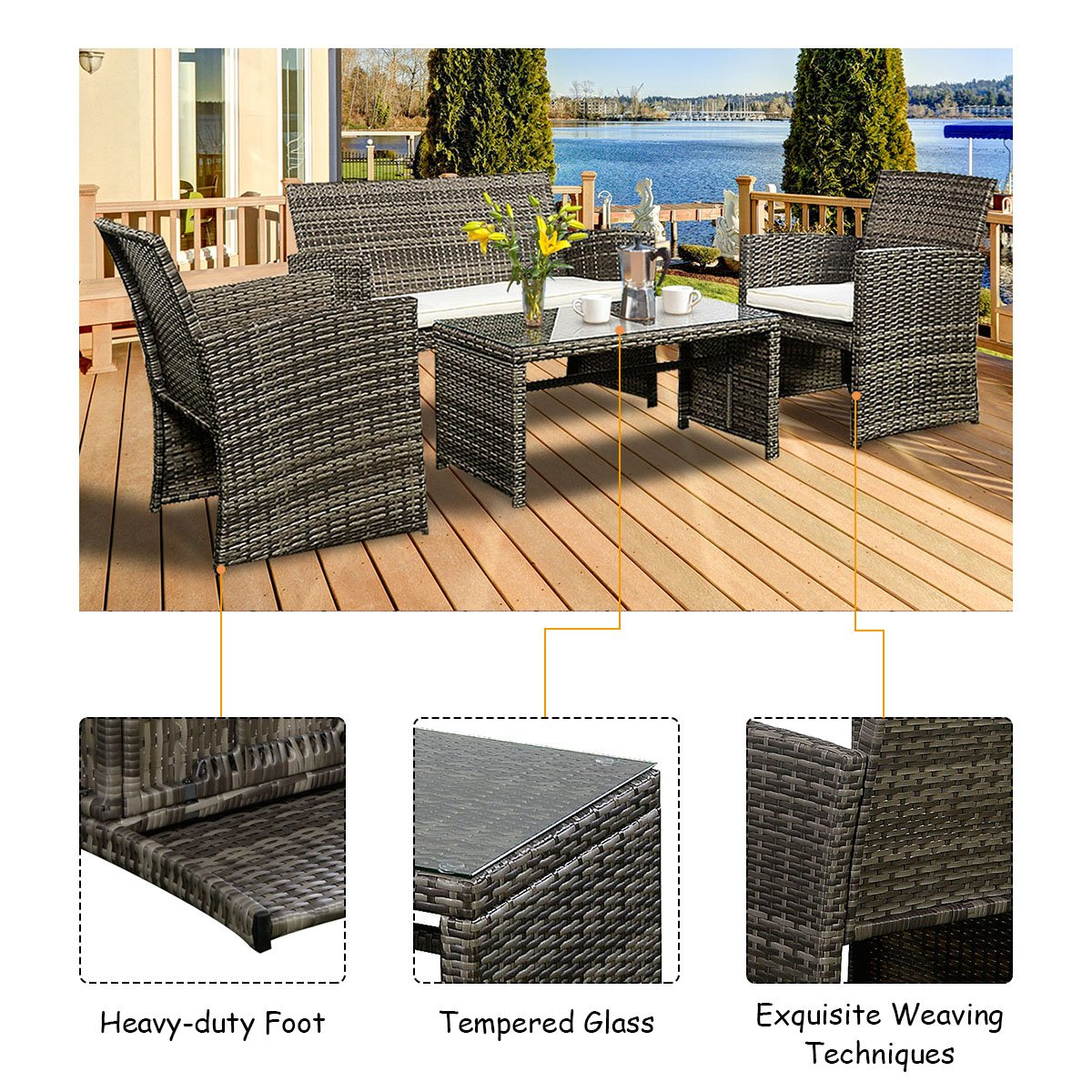 Goplus 4 PC Rattan Patio Furniture Set Garden Lawn Sofa Cushioned Seat Wicker Sofa (Mix Gray) by Goplus (Image #6)