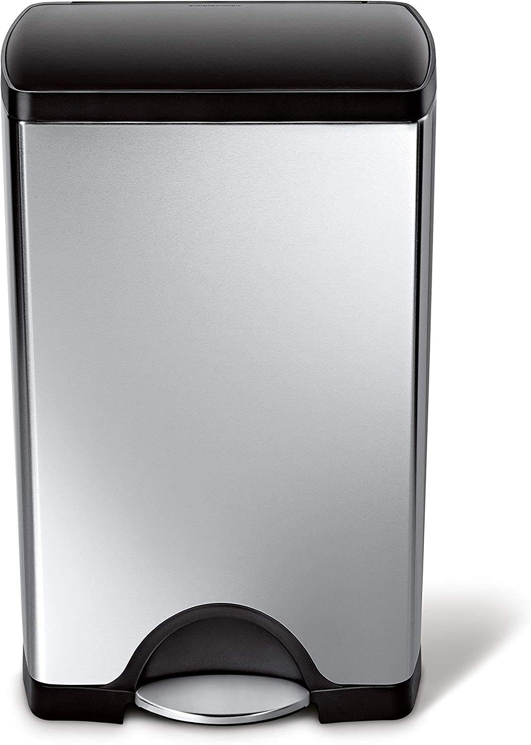 B0016L679A simplehuman 38 Liter / 10 Gallon Stainless Steel Rectangular Kitchen Step Trash Can, Brushed Stainless Steel with Plastic Lid 81BZcoOrP4L.SL1500_