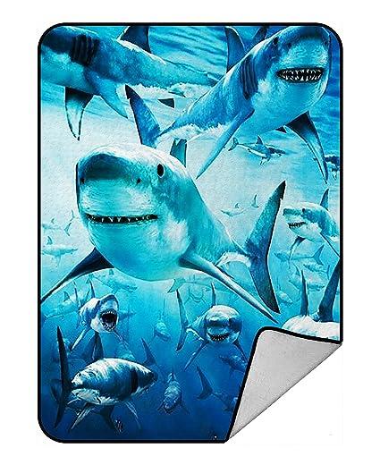0669f67665 Amazon.com  Custom Sea Sharks In the Deep Ocean Fleece Blanket ...