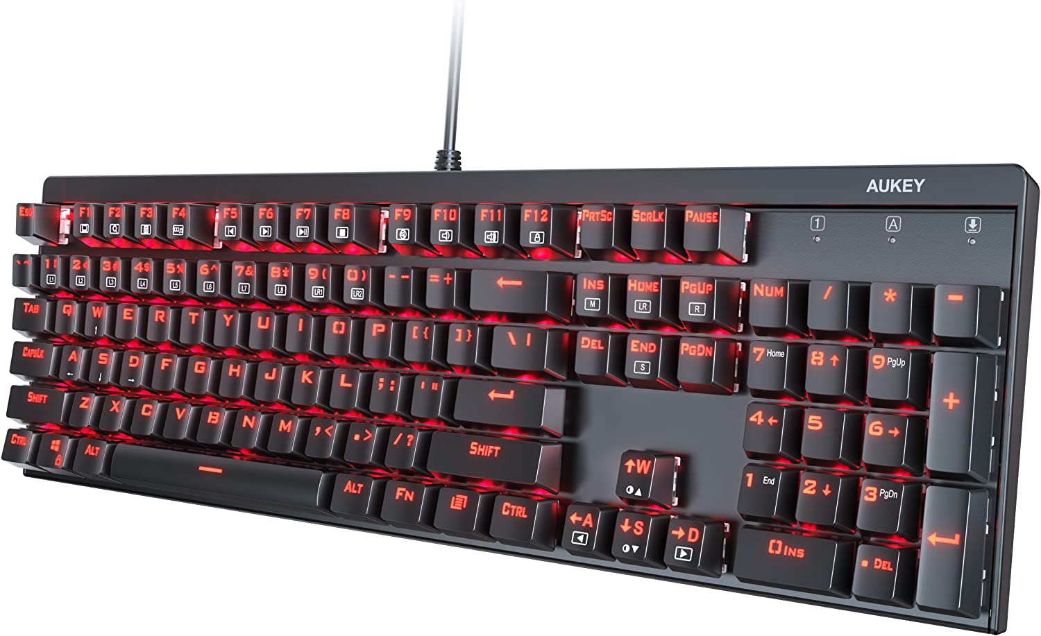 AUKEY Mechanical Keyboard Red Switch Gaming Keyboard with Red Backlit, 104 Keys 100% Anti-ghosting with Metal Top Panel and Water-Resistant Design for PC and Laptop Gamers, Black