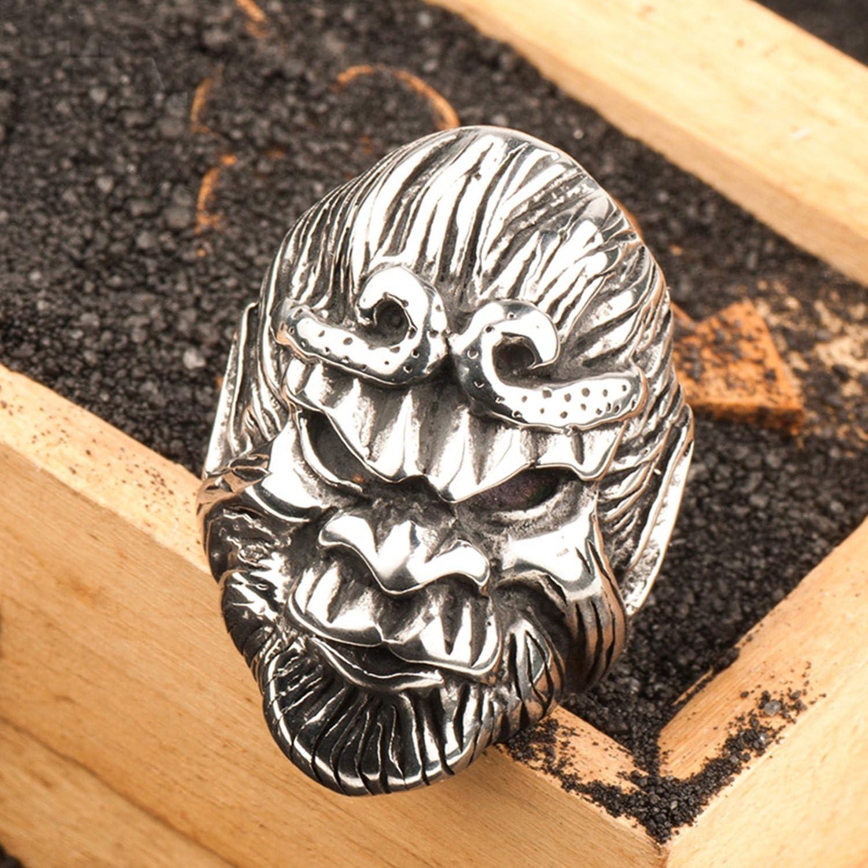 Epinki Titanium Steel Ring for Men Monkey King Unique Ring Silver