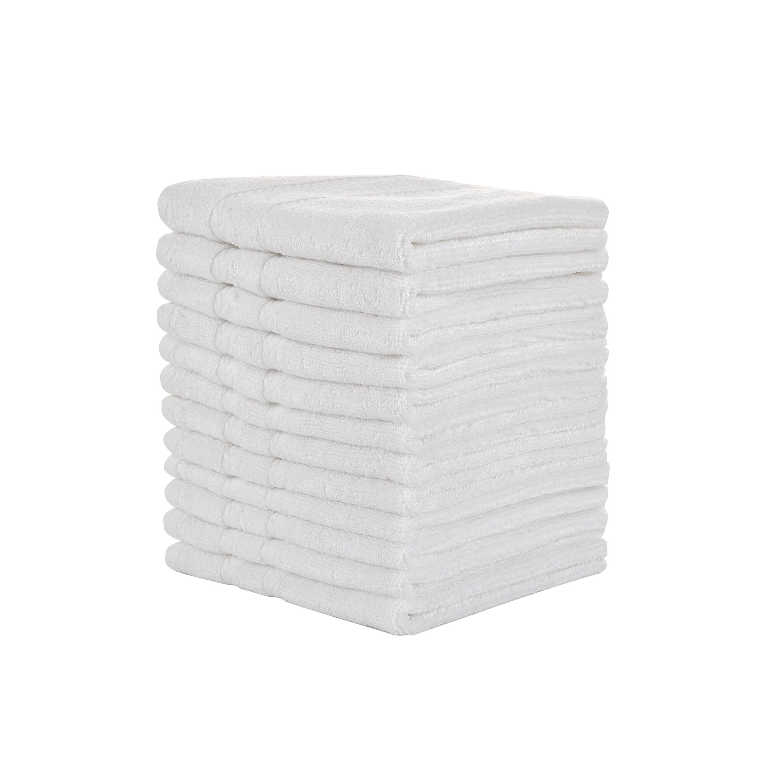 Natural Bamboo Cotton White Washcloths Set of 12, 13 X 13 inches -Ultra Soft and Absorbent