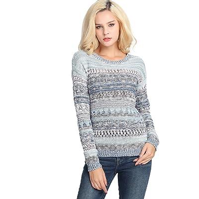 Women's Fashion Stripe Sweater Knit Top Blue