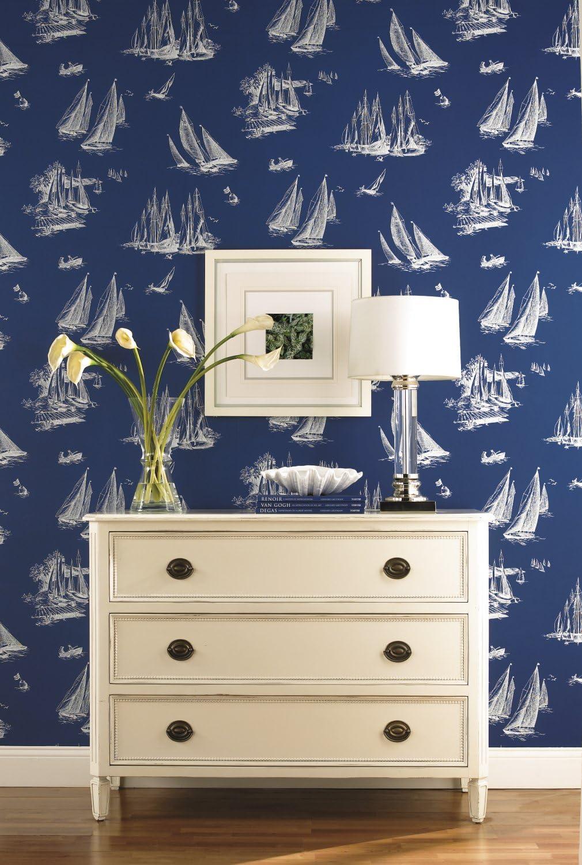 York Wallcoverings NY4926SMP Nautical Living Sailboat Toilet Wallpaper Memo Sample 8-Inch x 10-Inch Blueprint Blue White