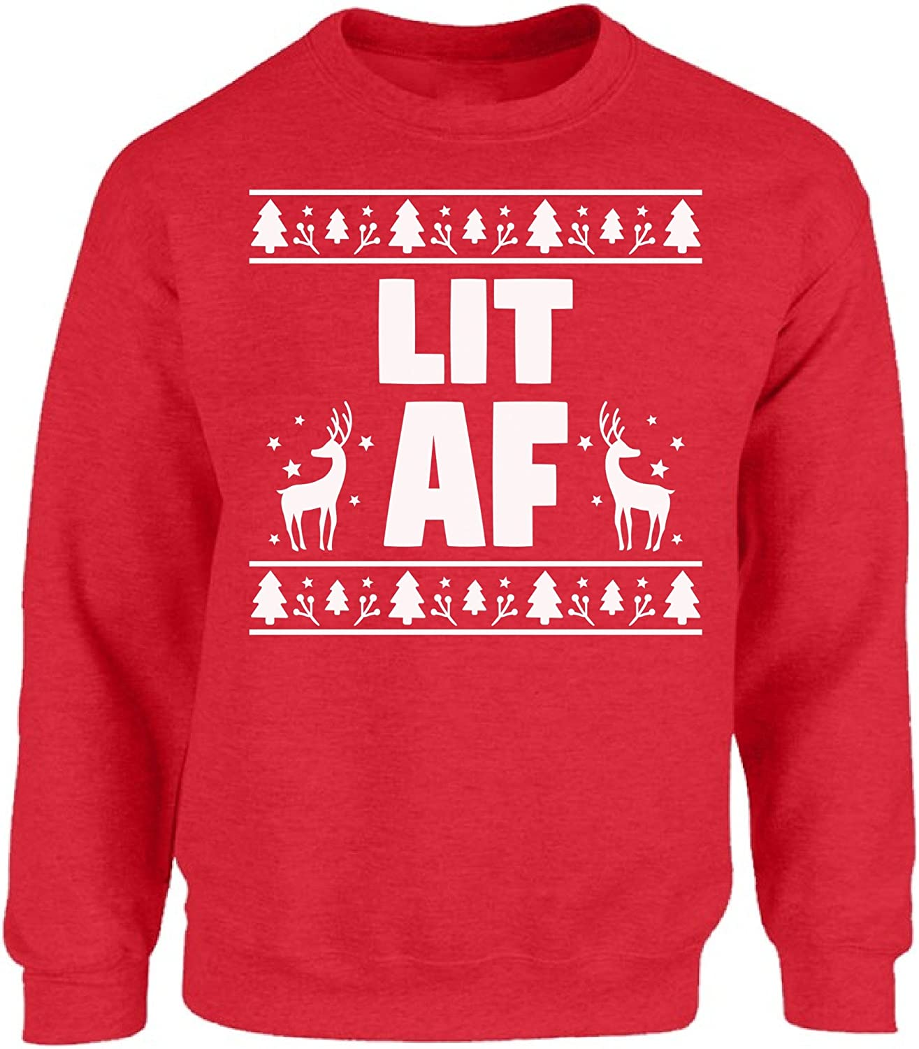 Funny Pop Culture Holiday Apparel Fluffy Crate Lit AF Ugly Christmas Sweatshirt