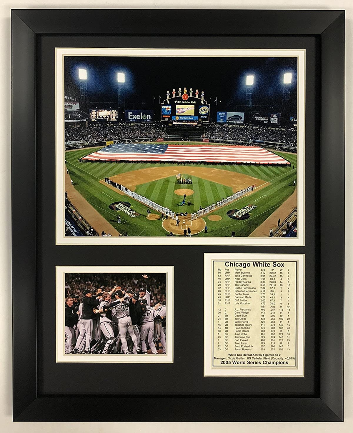 "Legends Never Die Chicago White Sox 2005 MLB World Series - U.S. Cellular Field Collectible | Framed Photo Collage Decor - 12""x15"""