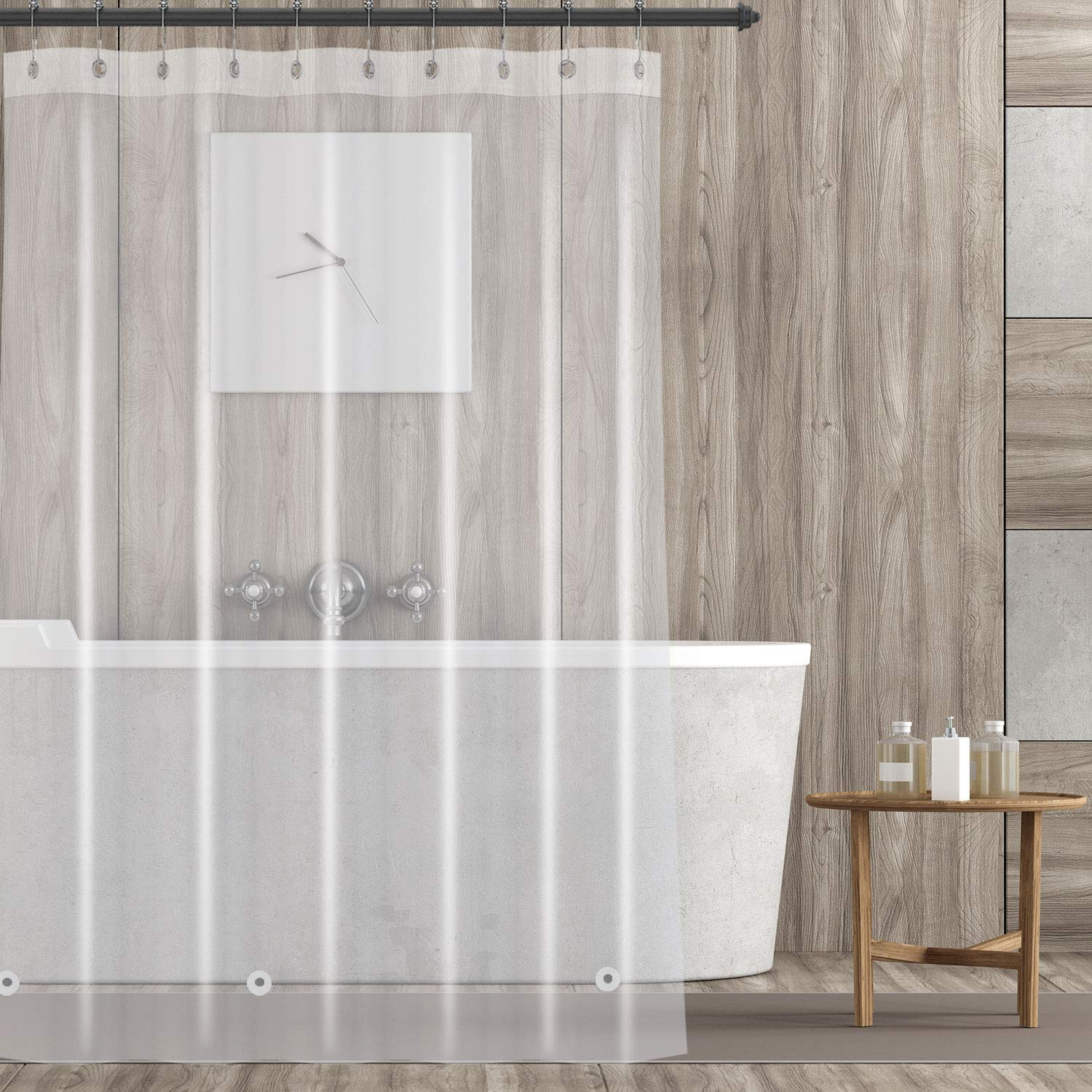 No Chemical Smell-Rust Proof Metal Grommets-72x72 Clear YINENN Shower Curtain Liner with 12 Metal Shower Hooks,Heavy Duty PEVA 8G Mildew and Stain Resistant,Anti Bacterial,Waterproof,Nontoxic