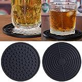 SunWen Silicone Drink Coaster,Black Set of