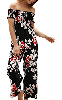 c3feee9e9a7 ECOWISH Womens Jumpsuits Floral Print Off Shoulder Romper Casual Strapless  Wide Leg Pants Jumpsuit White S