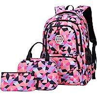 SellerFun Girl Geometric Printed Primary Junior High University School Bag Bookbag 3pcs Backpack Sets(2# Black-3pcs,19L)