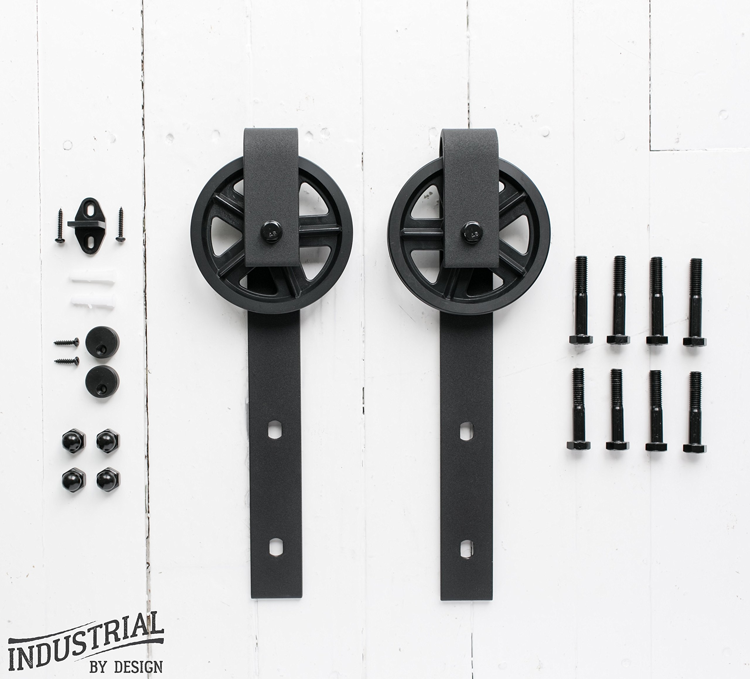 Big Wheel Sliding Barn Door Hangers (Black, Pair) ▫ Ultra Quiet, Successfully Tested Beyond 100,000 Rolls ▫ Industrial Strength ▫ Extra Hangers Only, No Rail