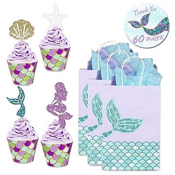 YouthUnion Bolsa Regalo Sirena Papel, 12Pcs Mermaid Fiesta Party Mar Recuerdos de Boda Niñas Infantil Brillante Dorado Bronceado (Cupcake ...
