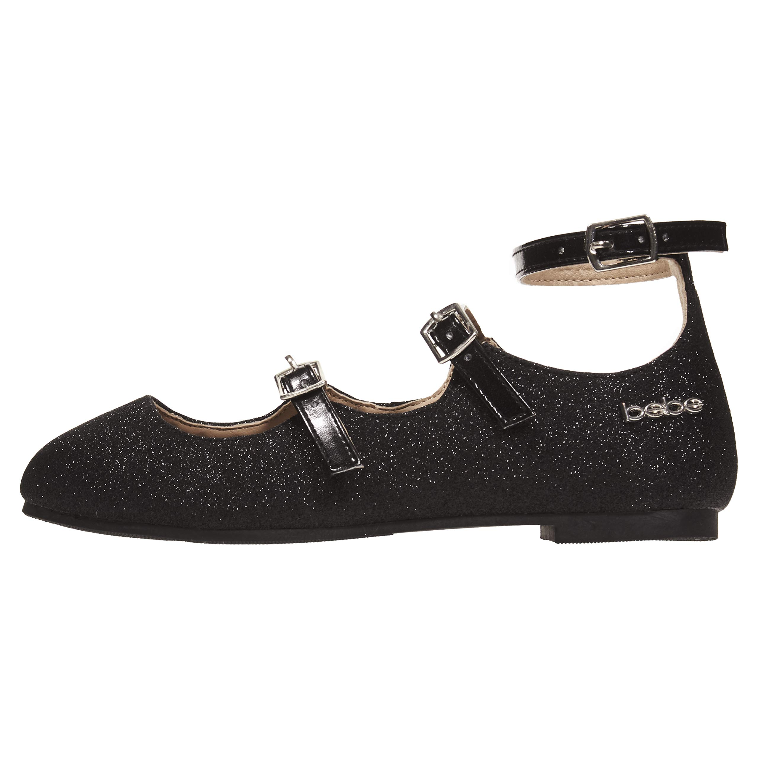 bebe Girls Ballet Flats Size 4 with Glitter and Metallic Straps Black