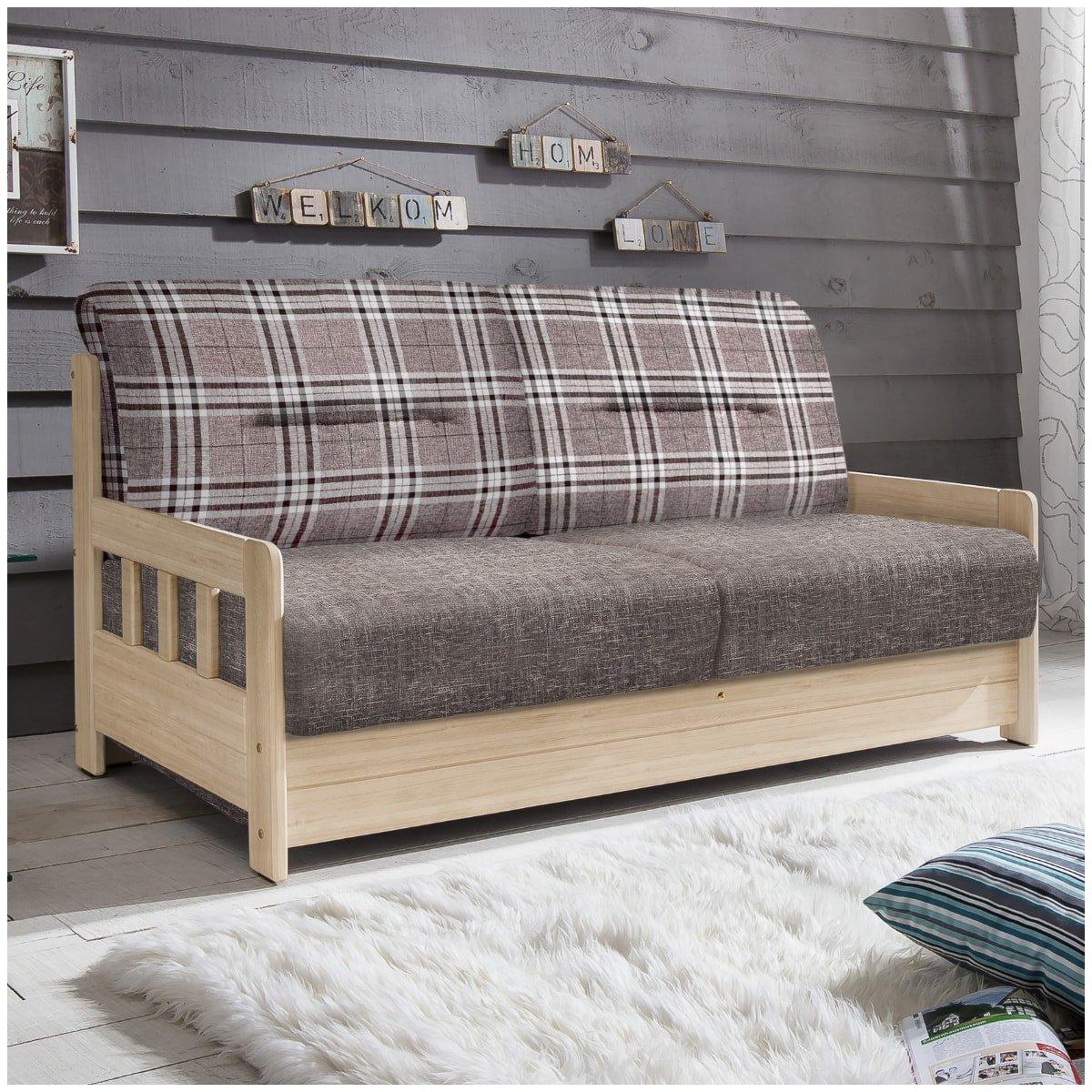 Schlafsofa Campuso Braun Natur Stoff Sofa Couch Massiv Holz