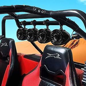 "GoHawk TS5-Q 4 Channel Amplifier 5"" Full Range Waterproof Bluetooth Stereo Speakers Audio Amp System w/AUX USB SD Radio for 1.5"" to 2"" ATV UTV Can-Am Polaris Jeep"