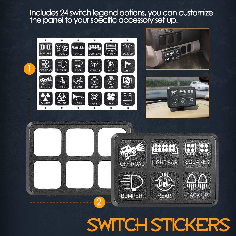 Nirider Universal Circuit Control Box Button Switch Pod Touch Switch Box For Truck Jeep ATV UTV SUV Car 6 Gang Switch Panel