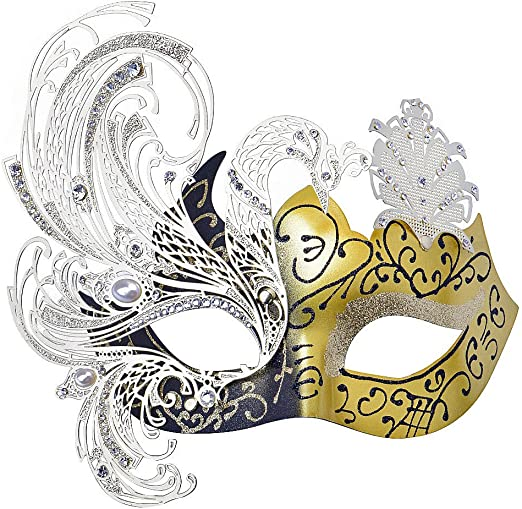 LASER CUT Metal Venetian Masquerade Costume Ball Prom Party Wedding Gold Mask