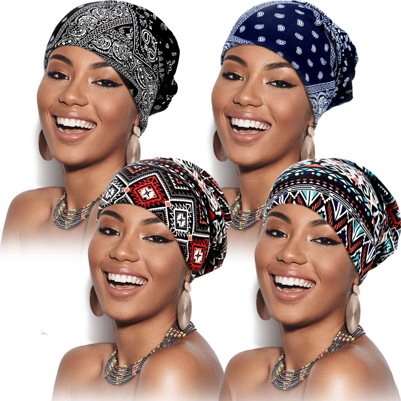 4 Pi/èces Bonnets Chapeaux de Cr/âne Bonnets Slouchy Bonnet /Écharpe Tricot/é pour Femmes