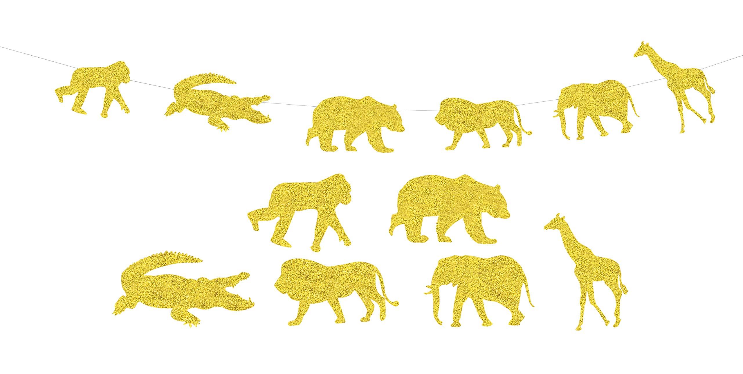 KAPOKKU Gold Glitter Jungle Safari Animal Banner Zoo Themed Baby Shower Kids Birthday Party Decorations Supplies (jungle animal banner)