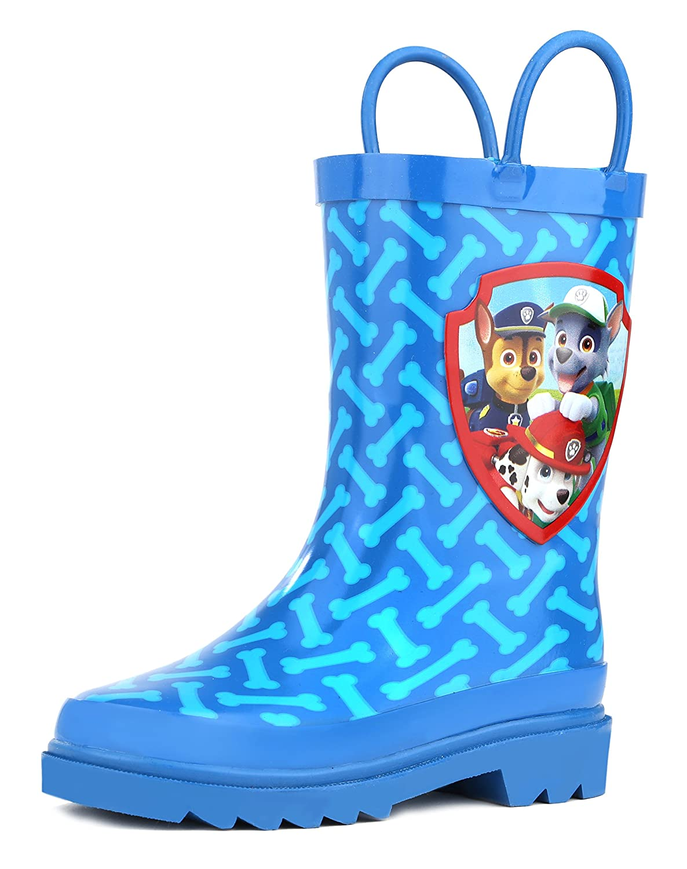 Nickelodeon Kids Boys' Paw Patrol Character Printed Waterproof Easy-On Rubber Rain Boots (Toddler/Little Kids)