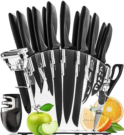 HomeHero Juego de 13 Cuchillos de Cocina con Soporte y Afilador | Utensilios de Acero Inoxidable para Profesionales y Aficionados | 6 Cuchillos para ...