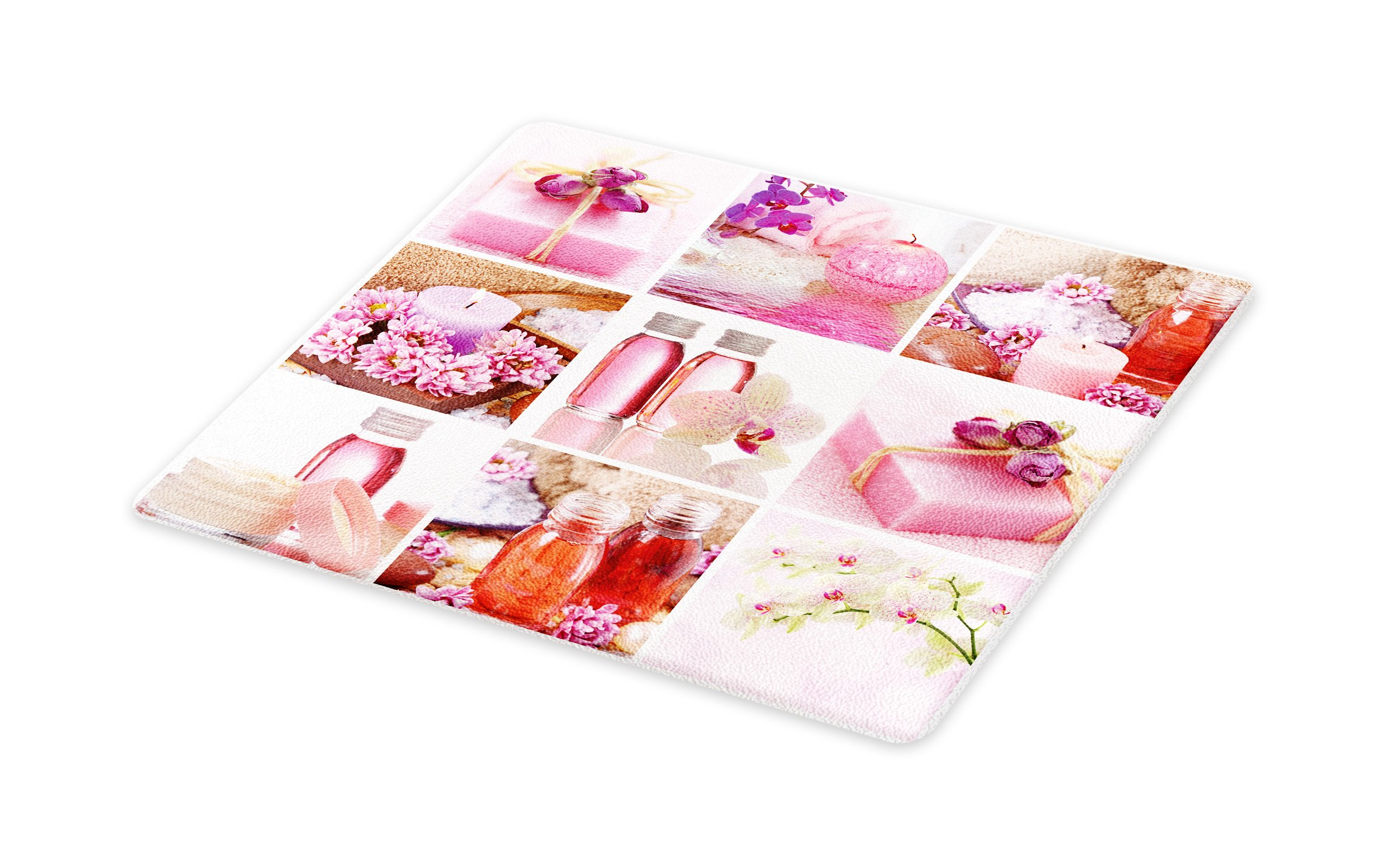 Lunarable Spa Cutting Board, Flowers Pink Gift Wraps Tiny Scent Bottles and Candles Image Collage Print, Decorative Tempered Glass Cutting and Serving Board, Small Size, Lillium Pink and White