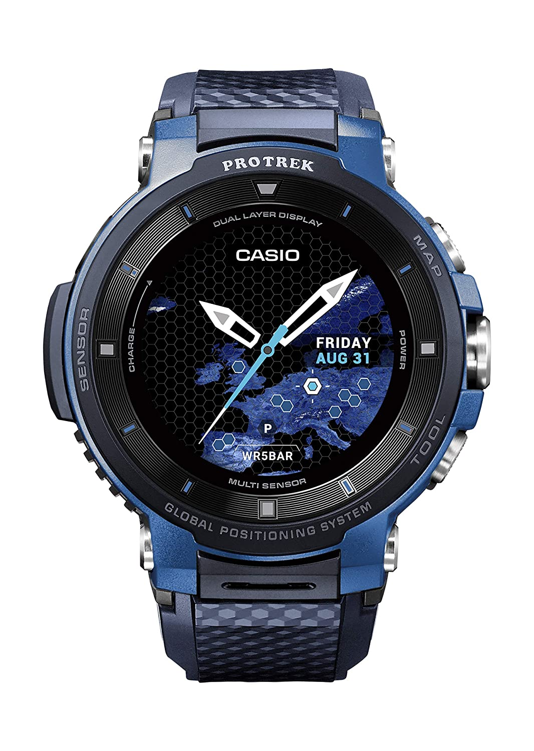 Casio Pro Trek Touchscreen Outdoor Smart Watch Resin Strap, Blue, 27 (Model: WSD-F30-BUCAU)