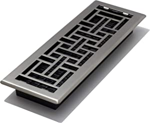 Decor Grates AJH414-NKL 4-Inch by 14-Inch Oriental Floor Register, Brushed Nickel