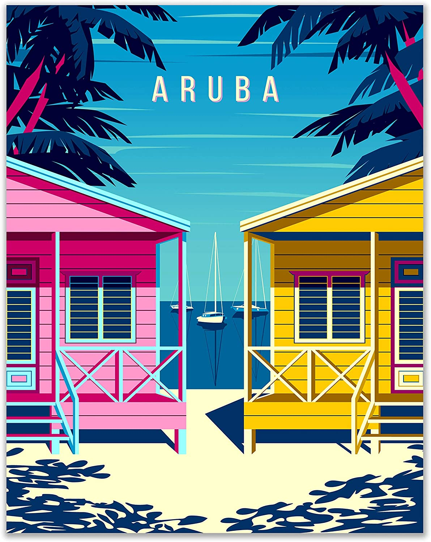 Aruba - Caribbean Beach Retro Travel Poster Print - Set of 1 - (11x14 Inches) Colorful Radiant Coastal Scenery Artwork for Home Decor