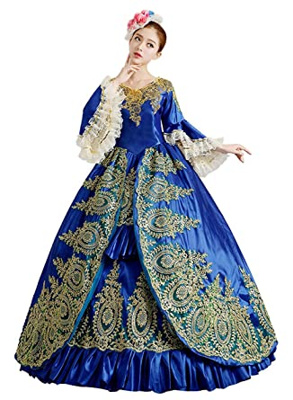 ROLECOS Womens Royal Vintage Medieval Dresses Lady Satin Gothic Victorian Dress Fancy Masquerade Dress Blue 4  sc 1 st  Amazon.com : masquerade dresses costumes  - Germanpascual.Com