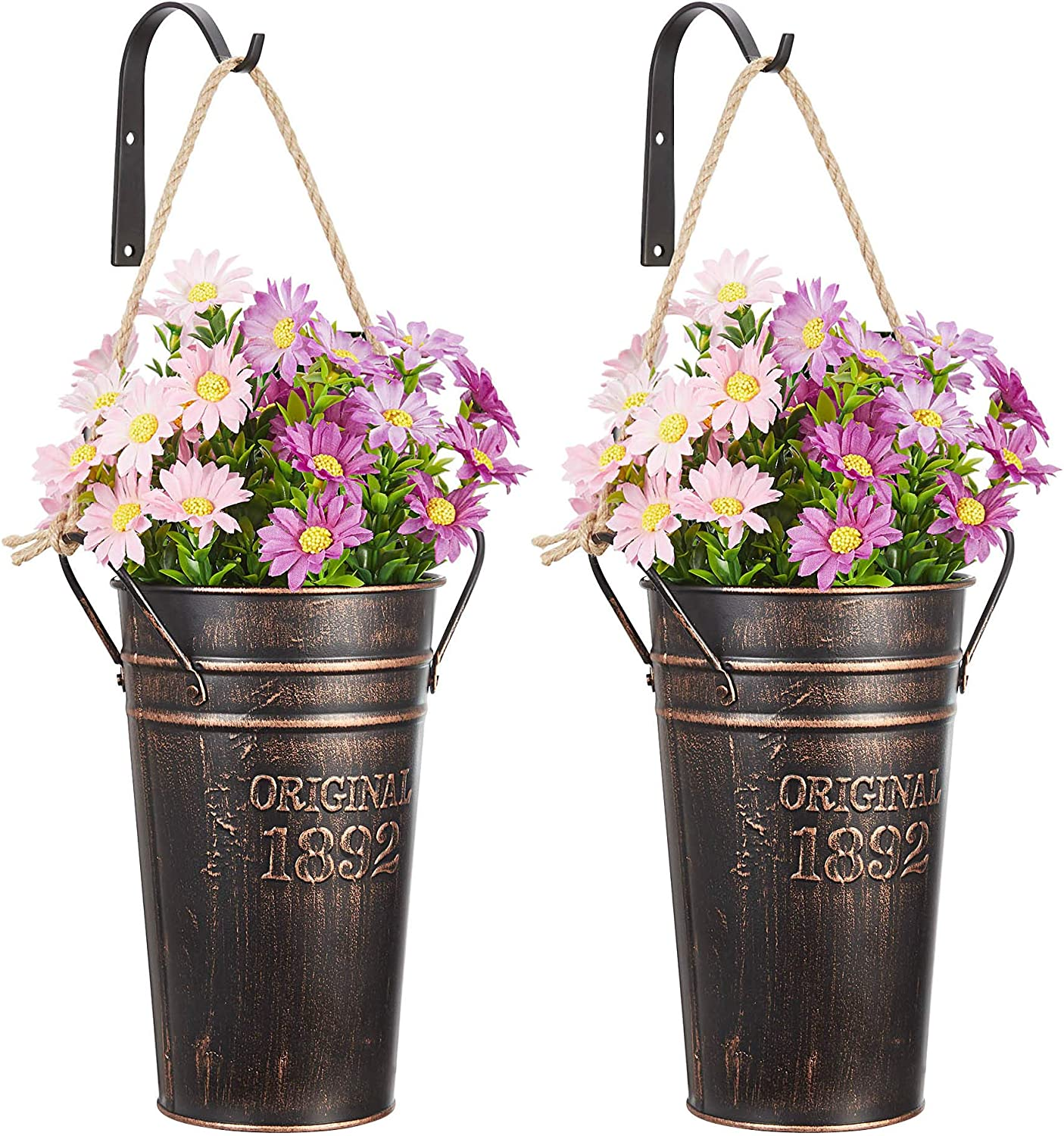 MONT PLEASANT Metal Wall Planter Hanging Country Home Wall Vase with Hooks Farmhouse Rustic Wall Decor Pot for Plants Flower Home Decoration Set of 2
