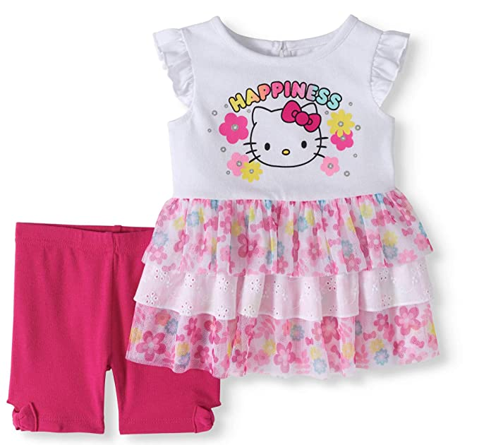 1c558e1ae Hello Kitty Happiness Ruffle Tutu Top and Shorts 2 Piece Outfit Set (6-9