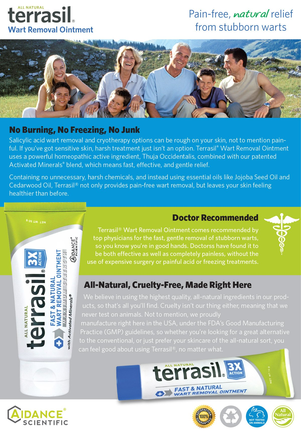 Wart Remover - Safe for Sensitive Skin Dr Recommended 100% Guaranteed All Natural Pain Free Salicylic Acid Free Patented Treatment for Plantar Genital Facial Warts by Terrasil by Aidance Skincare & Topical Solutions (Image #7)