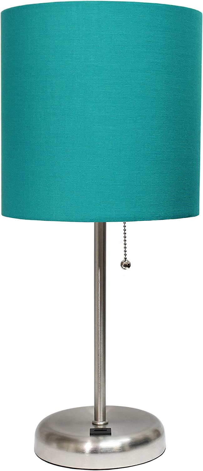 Limelights LT2044-TEL Stick Lamp with USB Charging Port and Fabric Shade, Brushed Steel/Teal