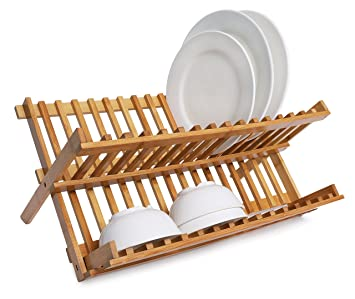 Dish Rack Collapsible Dish Drainer Bamboo Plate Rack Drying Rack  sc 1 st  Amazon.com & Amazon.com: Dish Rack Collapsible Dish Drainer Bamboo Plate Rack ...